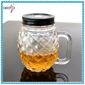 new design fancy mason jar drinking glass beverage bottle with handle