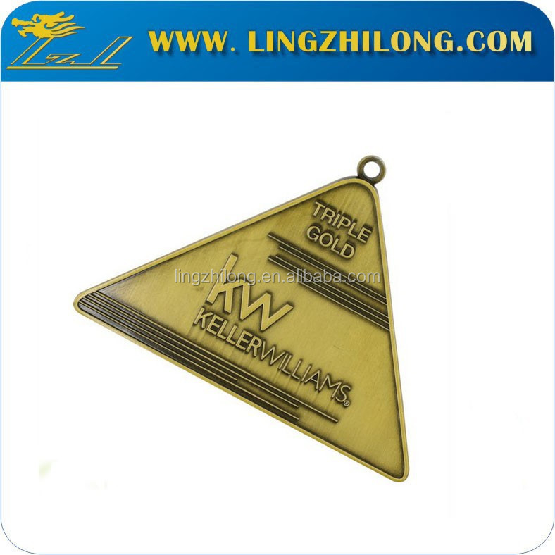 Custom Logo Design Triangle Shape Items Gold Medal