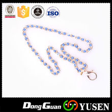Fashionable id badge beaded lanyards with metal hook