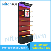 For Mall Kiosk Wood And Metal Cashier Display Case Retail Floor Display For Cosmetics Shop