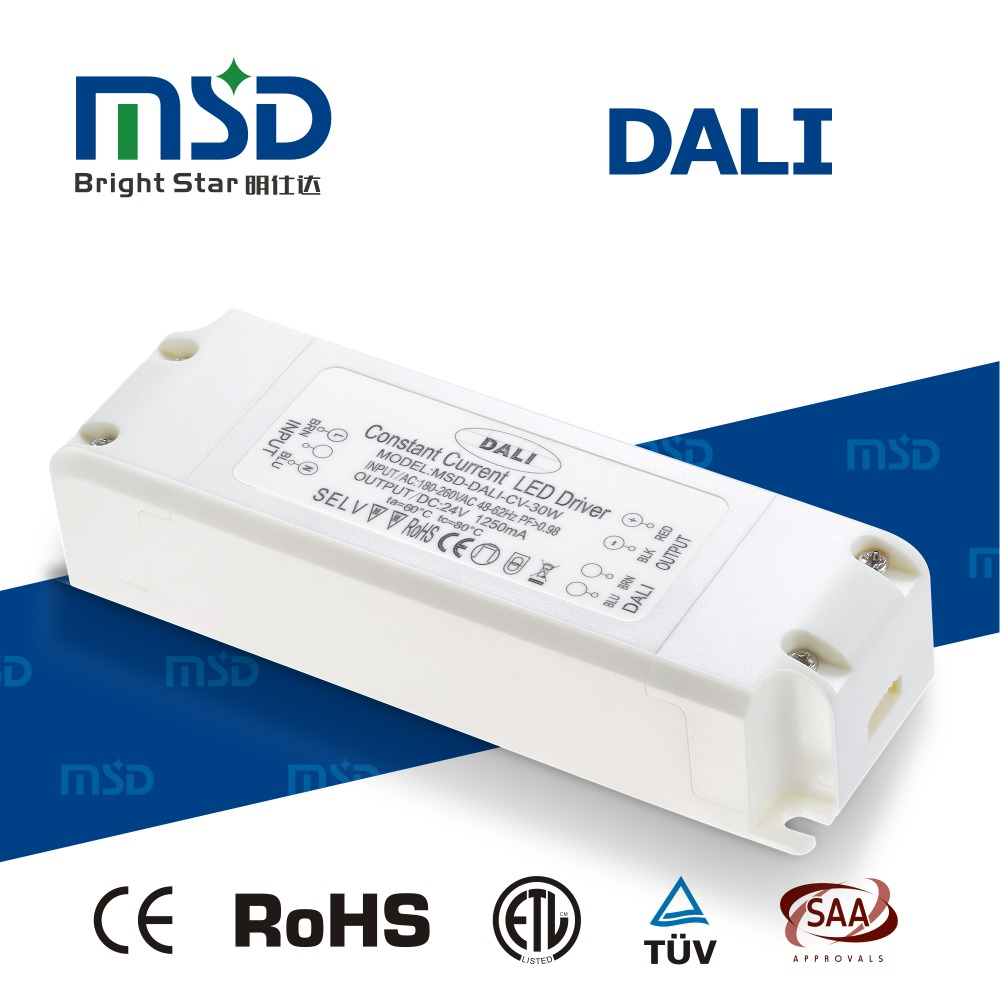 Flicker free 30W 24V DALI dimmable LED driver for LED strips