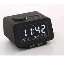 LCD display volume adjustable alarm clock for hotel supplies with snooze and weekend mode