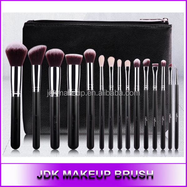 15pcs Professional aluminum makeup brush set Synthetic cosmetic brush with bag, Goat hair custom made makeup brushes