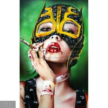 Handmade fantasy smoking woman painting oils on canvas, MANY FACES Viveros 2012
