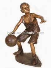 Hand Carved Bronze Statues Boy Playing Basketball Statue VLA-BS1011