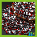 Flat back resin rhinestones, red resin stones