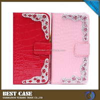 Strong magnetic leather wallet flip cover for moto e case