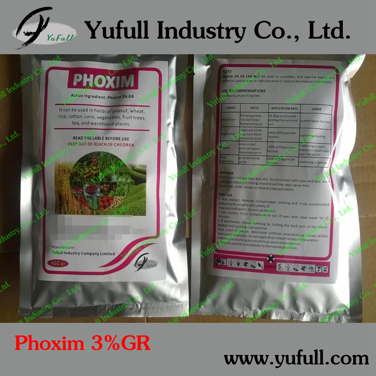 Phoxim 3% GR 40% EC, low toxicity stomach and contact insecticide