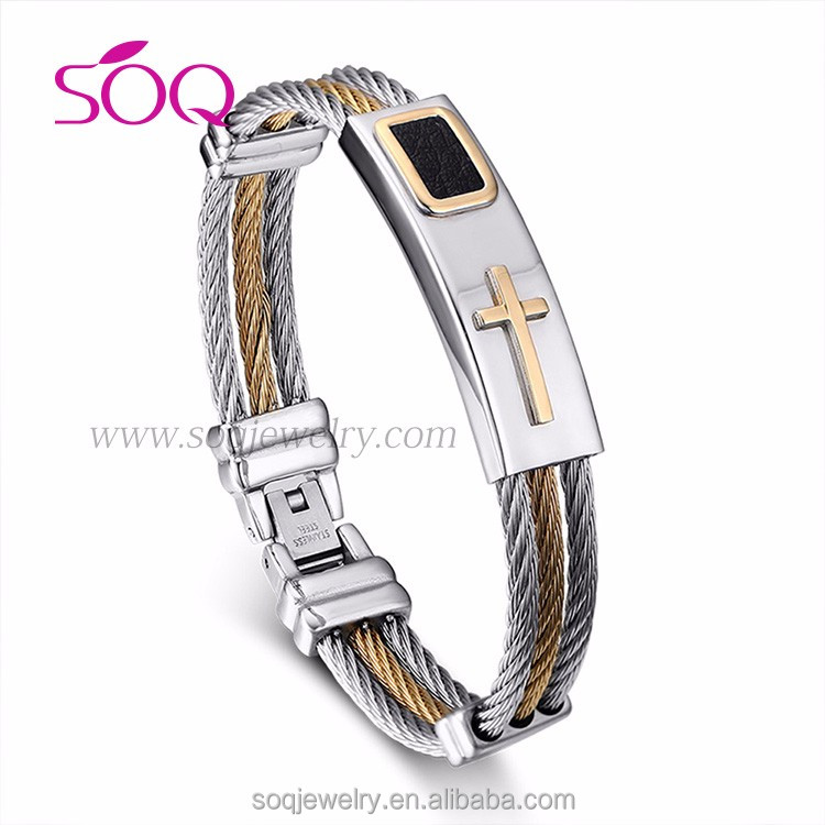 Retro simple woven rope cross vanguard style with men stainless steel bangle