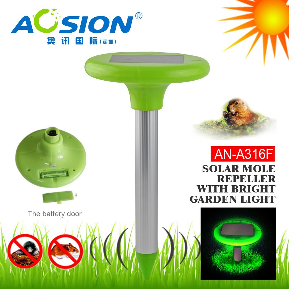 Rechargeable Solar Sound Waves & Vibration Mole Repeller with LED Light