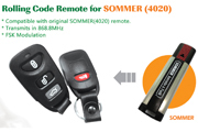 compatible remote 868.8Mhz SOMMER remote control garage door opener YET084