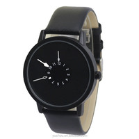 PAIDU Black Leather Band Mens Quartz Analog Gift Wrist Watch