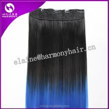 HOT SALE ( Black to Blue ) 20inch 100grams 5 clips High temperature synthetic dip dye ombre color easy clips hair extensions