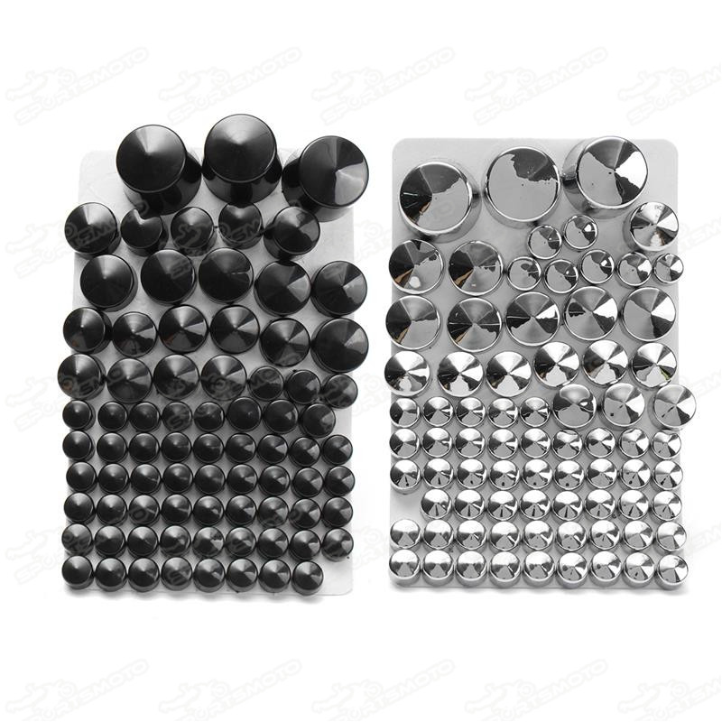 Road Motorcycle Chrome ABS Bolt Toppers Bolt Cap Cover For Softail Twin Cam 1984-2006 2005 Silver Black 87 pcs