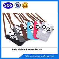 New Arrival Fashion Stylish OEM Cute Felt Long Strings Travel Phone bag for Girls