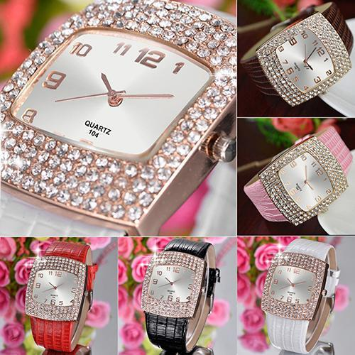 Women's Luxury Square Shiny Crystal Rhinestones Faux Leather Analog Wrist Watch Popular Product 4KPO