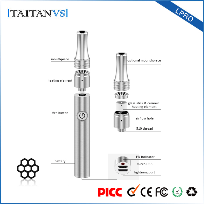 Voltage Adjustable Dual Coils 510 Wax Vaporizer Pen with Ceamic Heating Element Chamber