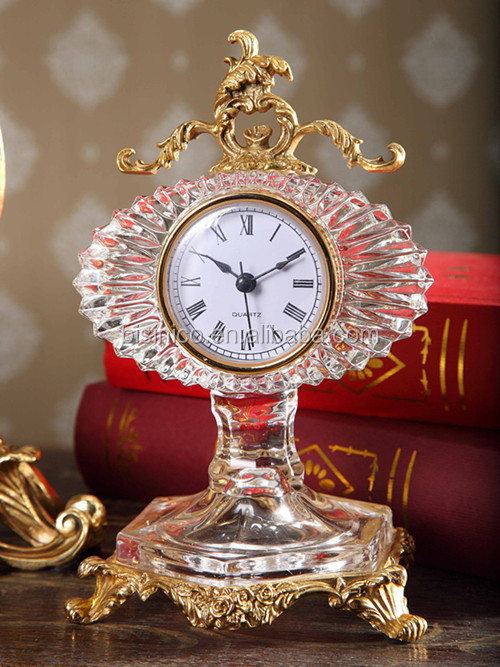 Royal Bronze Crystal Table Clock, Luxury Home Decorative Desk Clock (BF01-0203-1)