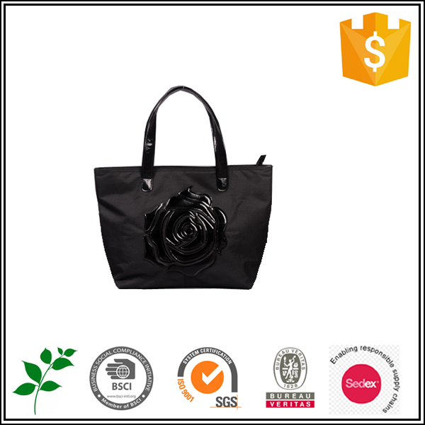 BSCI audited factory promotional ladies handbag with big flower