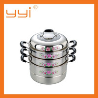 Stainless Steel Three Layer/Tier Food Steamer Pot with Rose flower printing and Red handles