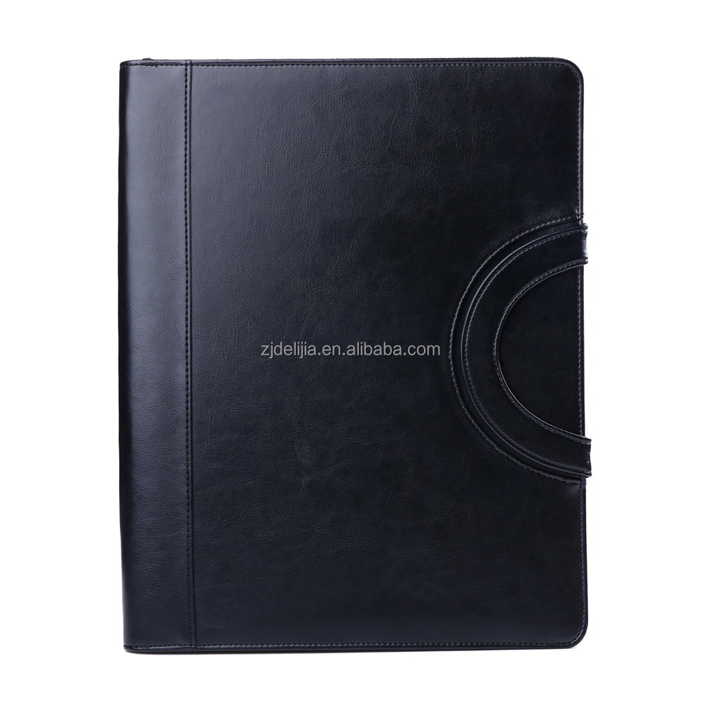 A4 PU leather portfolio business folder with calculator and notepad