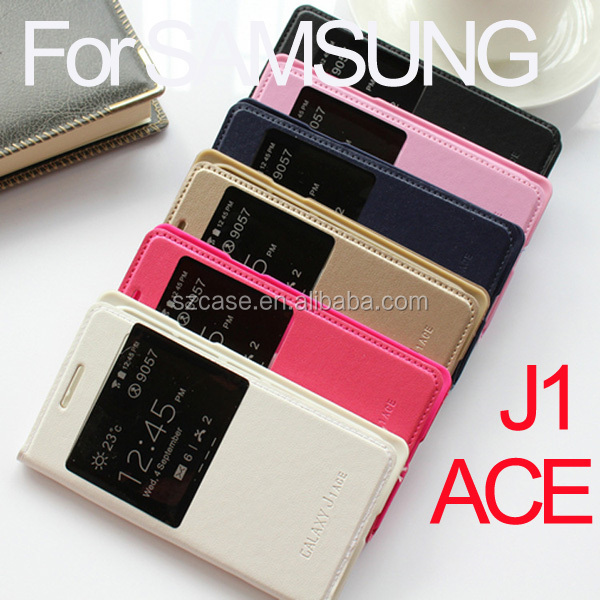 PU leather case cover for Samsung Galaxy J1 Ace smart window case for j1ace