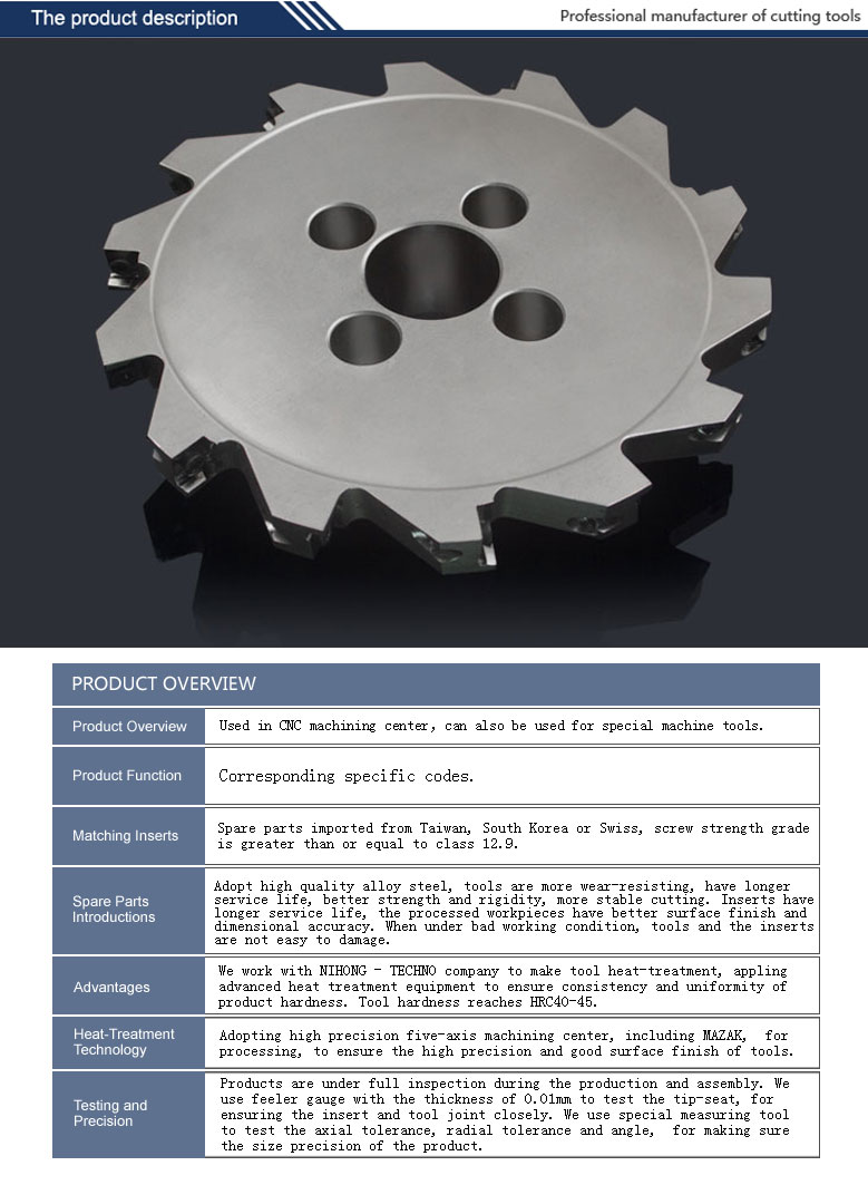 indexable side and face milling cutter PT01 matched with ISO standard inserts with high precision
