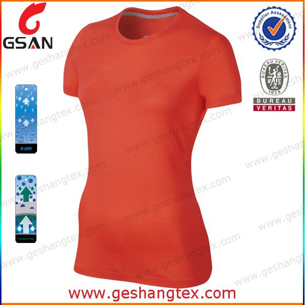 Plain 100% polyester women T-shirt O-neck dry fit blank orange t shirt
