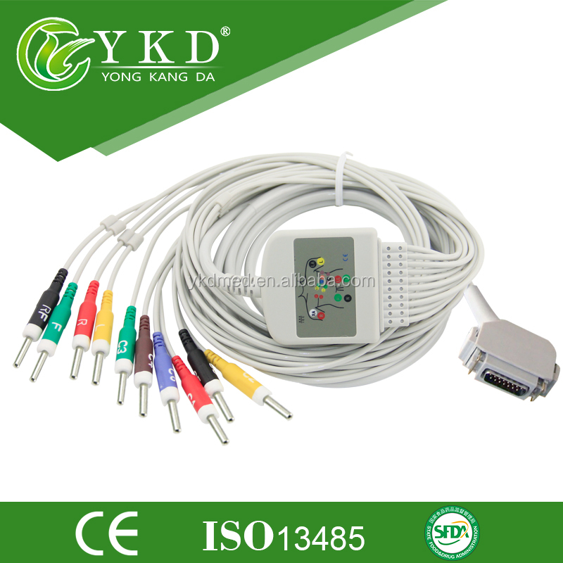 Hellige EK403 ECG /EKG Cable 10 Leads,Din Style,DB 15pin, Factory Supplier, AHA/IEC
