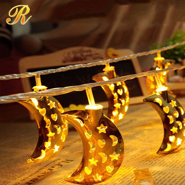 Metal heart led shaped string light for holiday decoration
