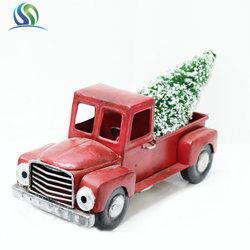 Festival Occasion Little Red Metal Truck Carried Christmas Tree For Decoration and Children Car Toy