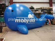 Custom made PVC giant inflatable helium mobydick blue whale sky balloon for advertising