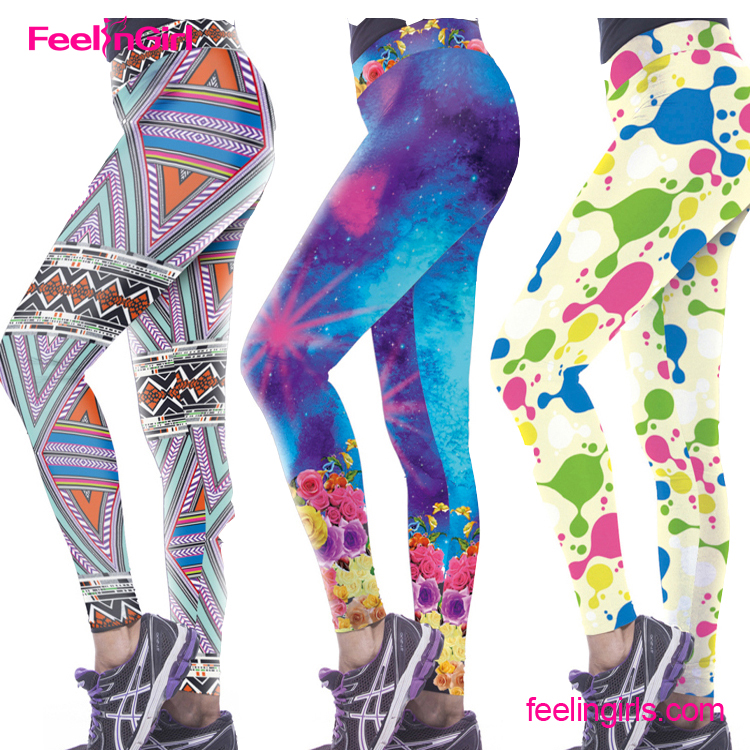 Colourful Geometry Pattern Workout 3D Printing Guangzhou Fancy Woman Legging Pants