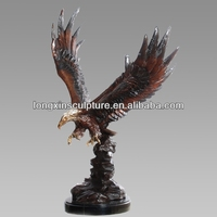 Garden Decoration Life-size Casting Bronze Eagle Catching Fish Figurine Statue--Bronze Animal Sculpture