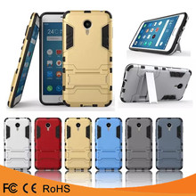 2016 Hot selling armor combo bracket hybrid kickstand shockproof heavy duty mobile phone case for meizu meilan metal