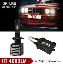 Zhengyuan 4000lm 40w black white led headlight Replace 6000k xhp70 led headlight xenon h7 12v 55w for phlips