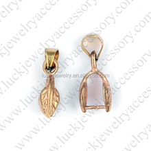 Newest Brass Laef Pinch Bail Pendant Connector Plated More Colors for Choice Jewellery Finding