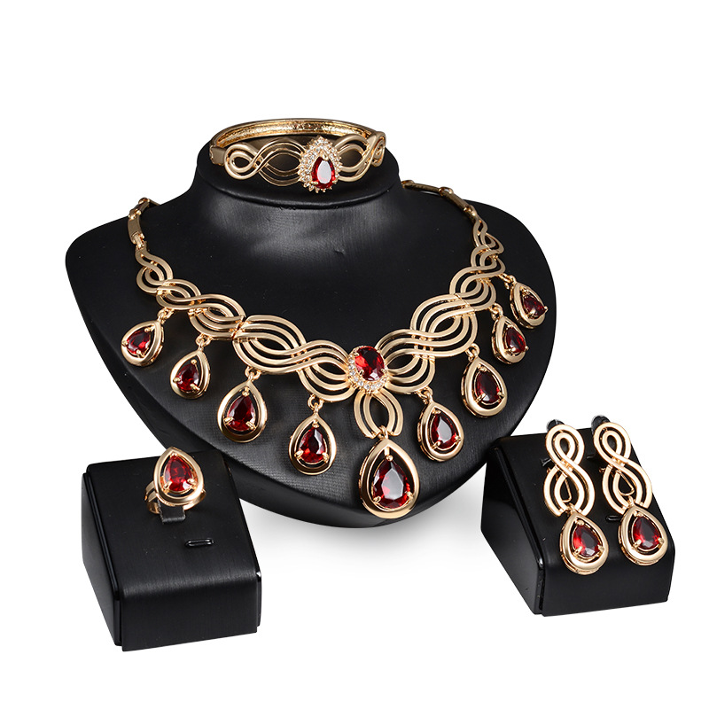 Ruby Jewelry <strong>Set</strong> 18K Gold Plated Big Wedding African Beads Jewelry <strong>Set</strong>