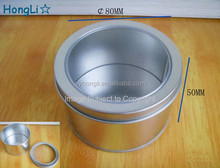 80x50mm Small Metal Candle Tin Container With Transparent Window Lids