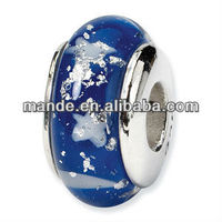 Blue star sky series silver plated large hole handmade lampwork glass beads Chinese stations first starting