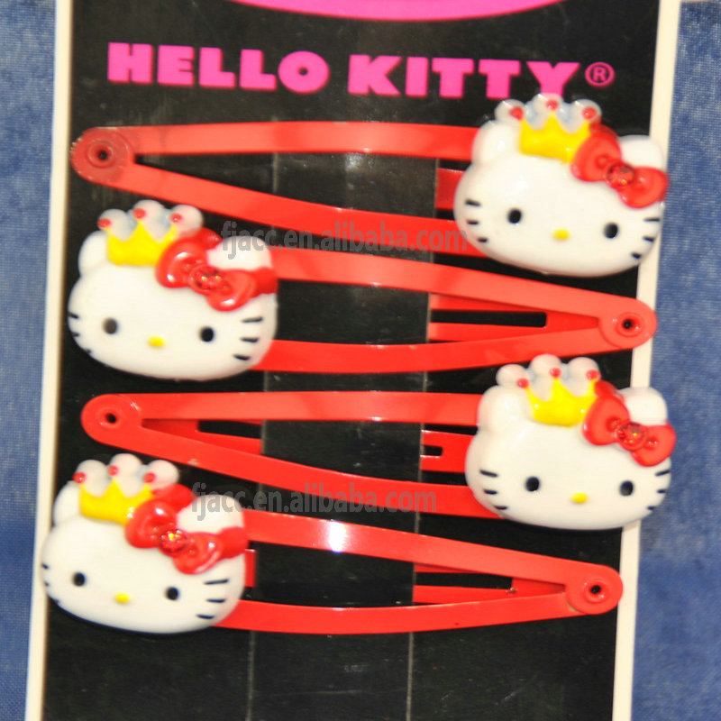 hello kitty wholesale kids hair accessories cheap cute girls resin magnetic metal hairclip