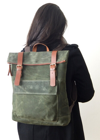 Olive Green Waxed Canvas Slim Waterproof Laptop Backpack