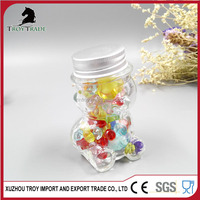 new design lovely bear animal-shaped clear glass candy jar clear glass storage candy jar with screw cap