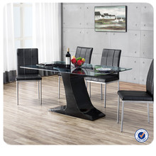 wholesale mdf base glass top long dining table