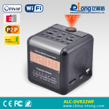 RJ45 & wifi internet connection in convert alarm clock design video camera support NVR TF onvif ip camera