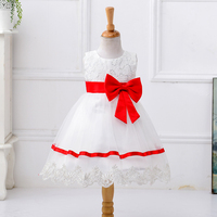 2016 New Arrival Sequin Knee-length Cotton O-neck Big Bow 2 Year Old Girl Dress L9008
