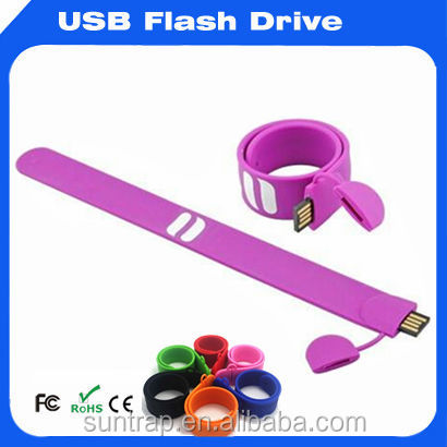 Wholesale Purple Silicone Rubber Case and Metal inside Wristband USB Flash Drive Bulk 2gb