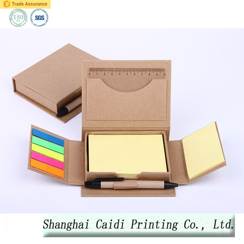 Memo Pad Sticky Notes with Pen/kraft paper box on sale