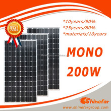 72 cell solar photovoltaic module Mono 200W on grid solar system