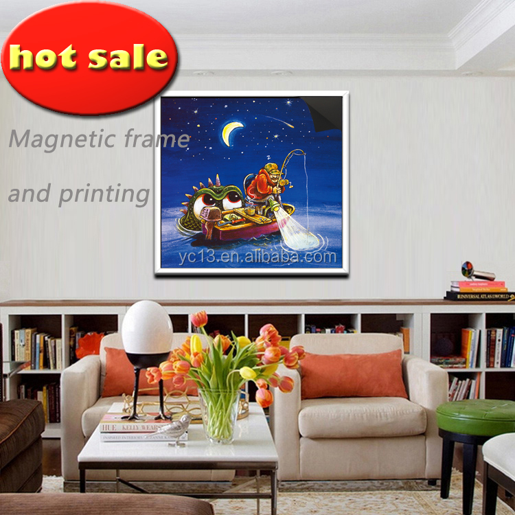 save cost post decoration rechange art magnetic frame & print magnetic painting Crazy Fisherman 1013-123
